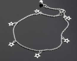 Sterling Silver Ankle Bracelet - Anklet with Charms