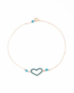 Heart Anklet - Turquoise Ankle Bracelet